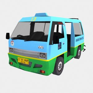 3D model angkot city transport vehicle