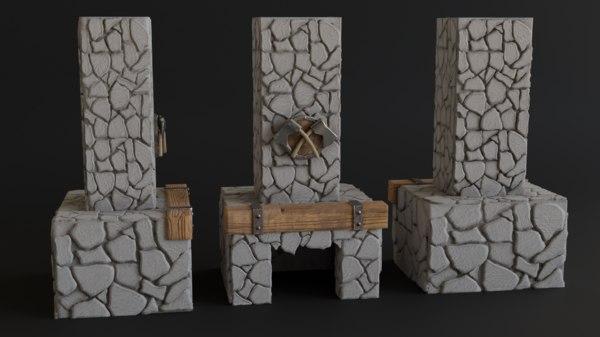 stone chimney 3D model