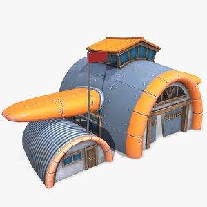 3D ready cartoon air hangar model