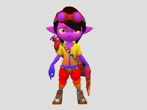 3D cartoon boy flamethrower