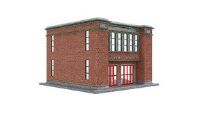 custom dog house fireplace 3D model