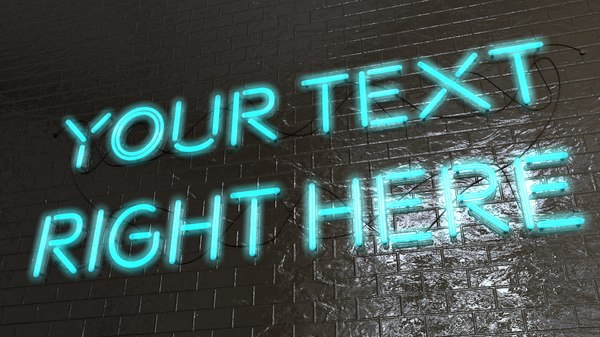 neon sign editable 3D model