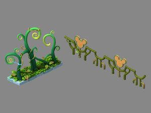 3D model main city - railings