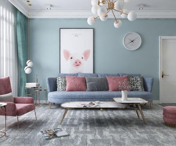 furniture modern living 3D model