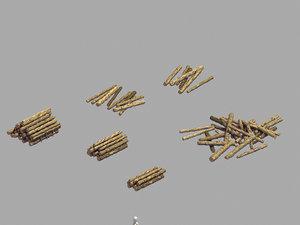 lumberyard - woodpile 03 3D model