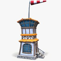 3D ready cartoon air control tower model