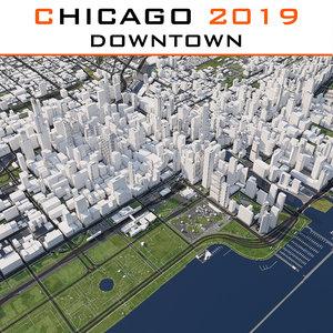 3D chicago downtown cityscape 2019