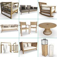 3D set wooden furniture armchairs