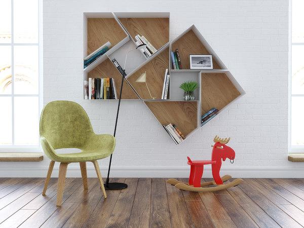 wall bookshelf armchair floorlamp model