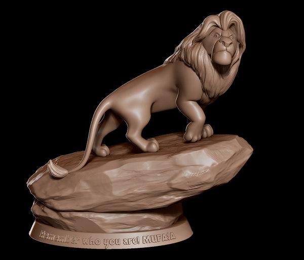 sculpture statue mufasa lion king 3D model