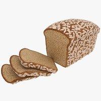 realistic sunflower bread 3D model