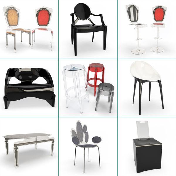 plastic furniture interior set model
