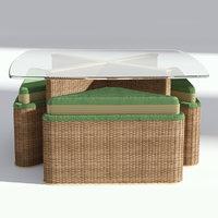 3D table wicker seats model