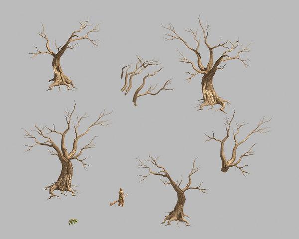 3D model dry trunk 64