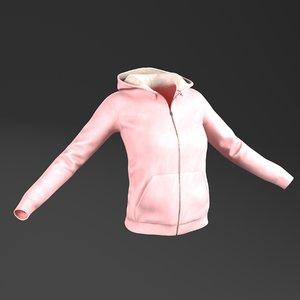 3D female hoodie pbr model