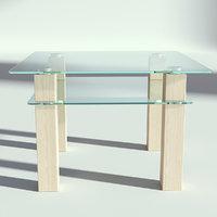 glass wood table 3D model