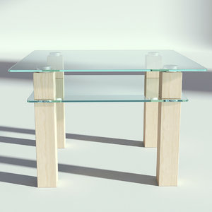 glass wood table 3D model