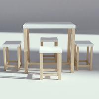 table seatings wood 3D model