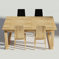 3D wooden dining set model