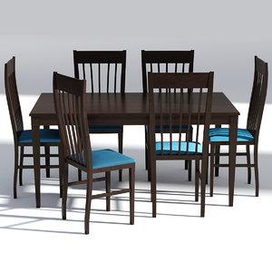 dark wood dining 3D