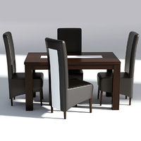 3D wooden table leather