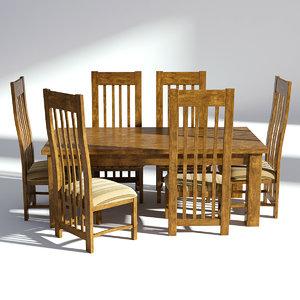3D model dining set wood