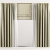 3D curtains roman beige