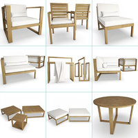3D model siena outdoor wooden furniture
