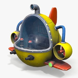 3D submarine cartoon