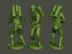 american soldier ww2 a6 3D model