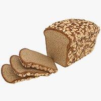 realistic oat bread 3D