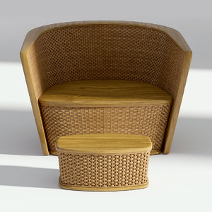 wicker armchair chair 3D model