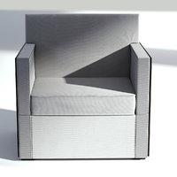 wood fabric armchair 3D model