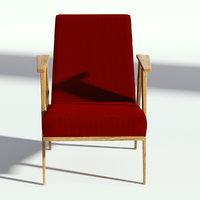 3D model fabric retro armchair