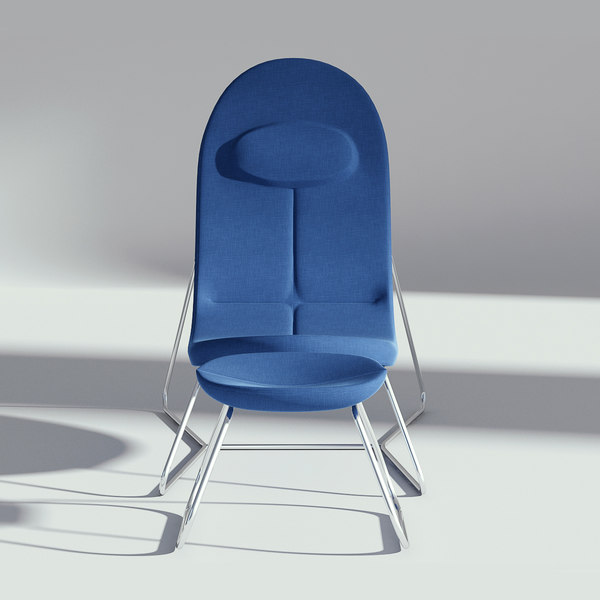 fabric armchair ottoman 3D model