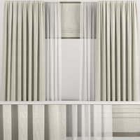 curtains roman beige 3D model