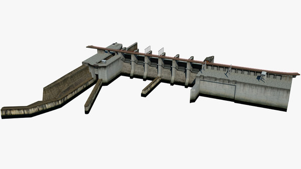 3D river dam lock