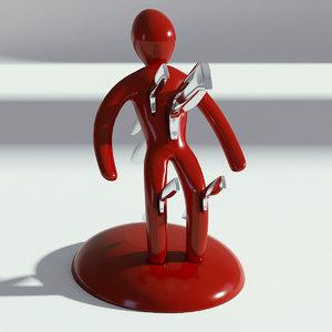 3D red knife holder model