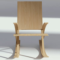 3D rocking wood chair