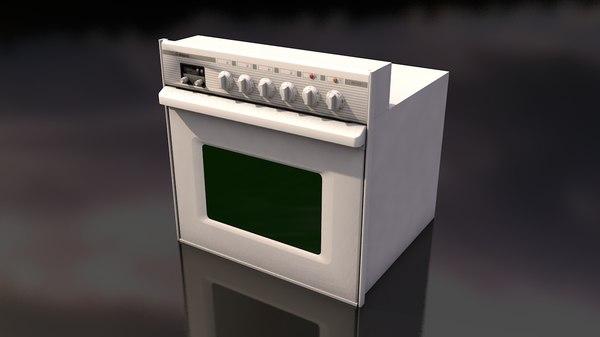 white oven stove 3D model