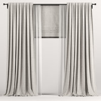 curtains roman brown 3D
