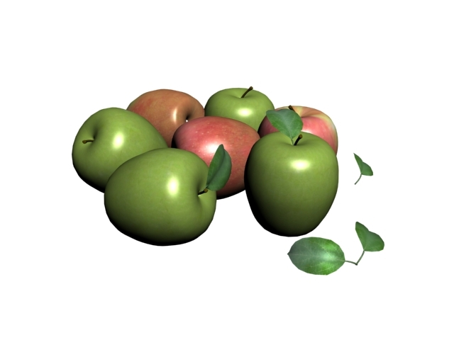 3D green apple