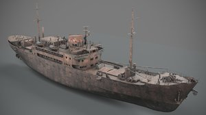 3D old rusted abandoned vessel model