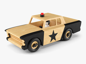 3D wooden toy police car