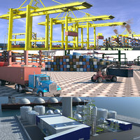 port ship industrial 3D model