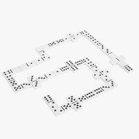 3D domino knuckles white model