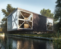 Realistic Exterior Lake House In The Woods