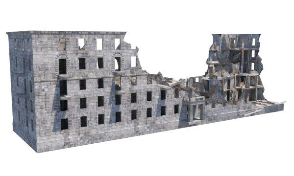 3D ruins debris destroyed building