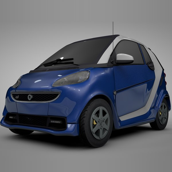 smart daimler blue white 3D model