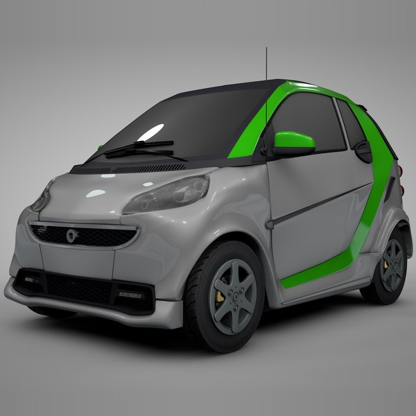 3D smart daimler white green model